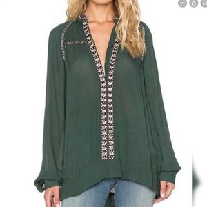 Tularosa Emerald Green Peasant Embroidered Blouse